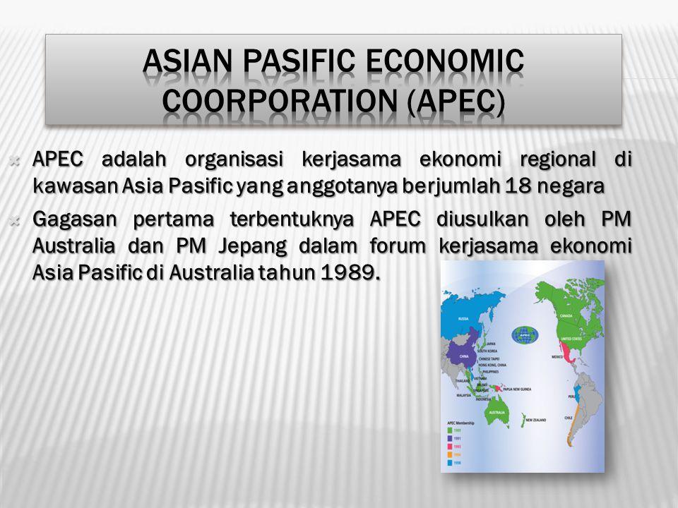  APEC adalah organisasi kerjasama ekonomi regional di kawasan Asia Pasific yang anggotanya berjumlah 18 negara  Gagasan pertama terbentuknya APEC di