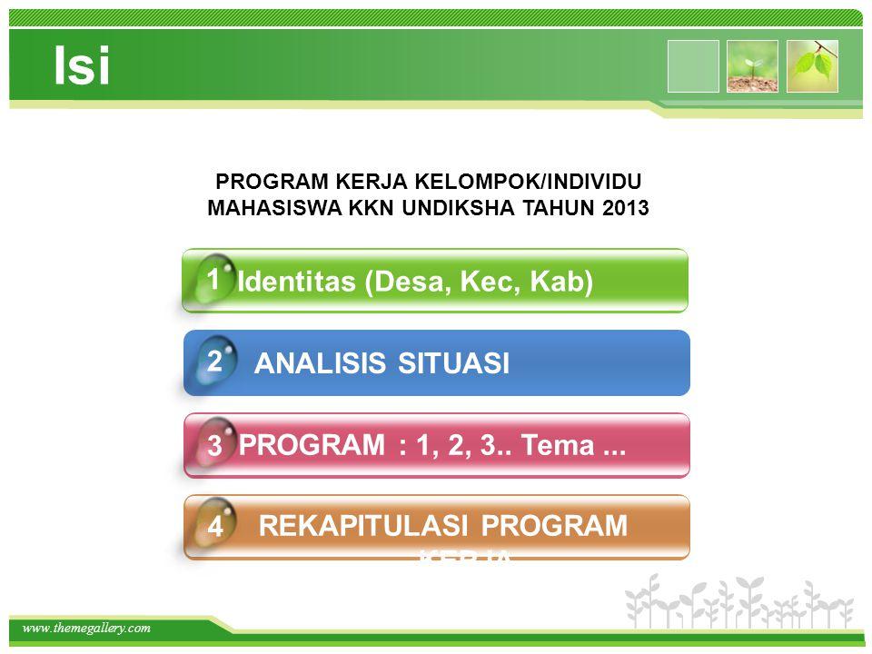 www.themegallery.com Isi Identitas (Desa, Kec, Kab) PROGRAM : 1, 2, 3.. Tema... REKAPITULASI PROGRAM KERJA 4 1 2 3 PROGRAM KERJA KELOMPOK/INDIVIDU MAH
