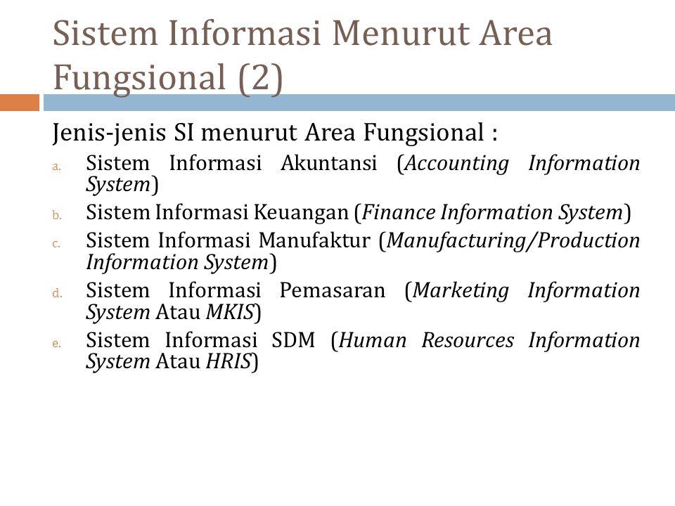 Sistem Informasi Menurut Area Fungsional (2) Jenis-jenis SI menurut Area Fungsional : a. Sistem Informasi Akuntansi (Accounting Information System) b.