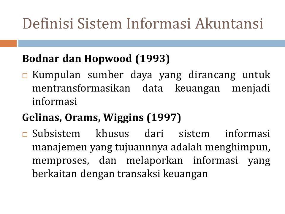 Definisi Sistem Informasi Akuntansi Bodnar dan Hopwood (1993)  Kumpulan sumber daya yang dirancang untuk mentransformasikan data keuangan menjadi inf