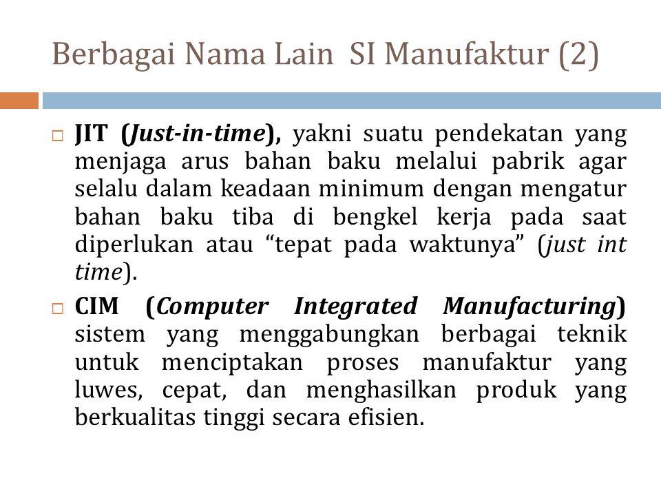 Berbagai Nama Lain SI Manufaktur (2)  JIT (Just-in-time), yakni suatu pendekatan yang menjaga arus bahan baku melalui pabrik agar selalu dalam keadaa