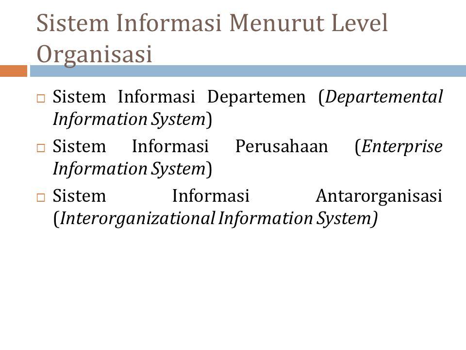 Sistem Informasi Menurut Level Organisasi  Sistem Informasi Departemen (Departemental Information System)  Sistem Informasi Perusahaan (Enterprise I