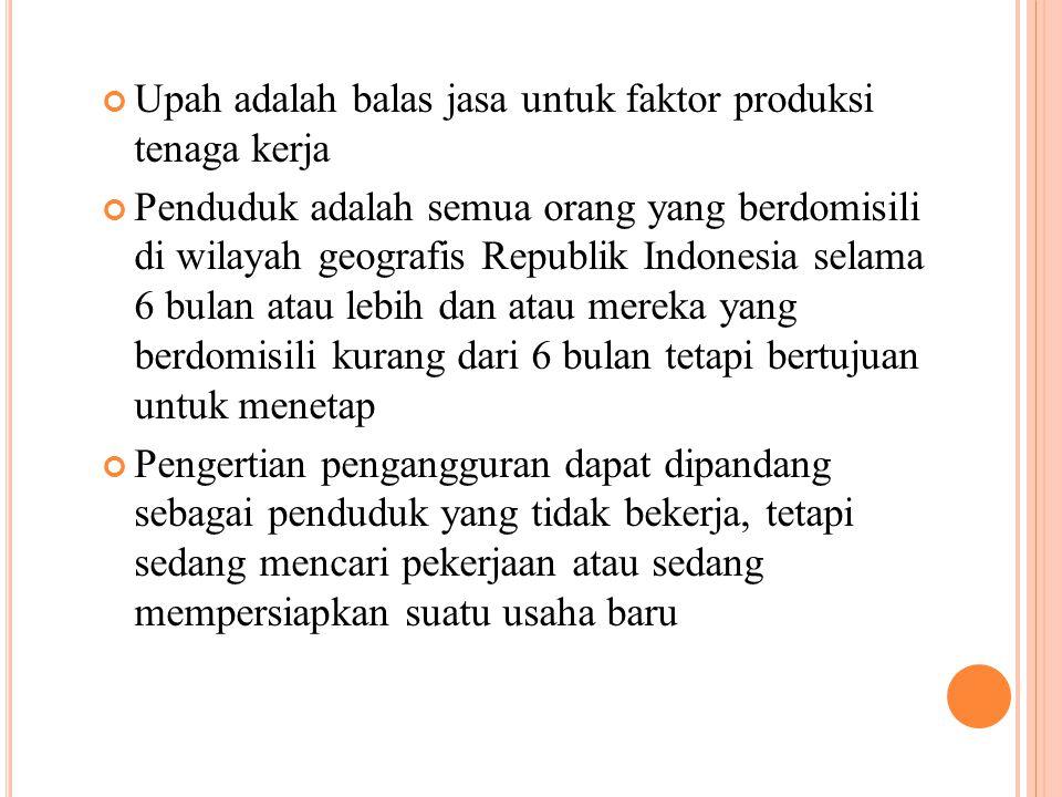 Upah adalah balas jasa untuk faktor produksi tenaga kerja Penduduk adalah semua orang yang berdomisili di wilayah geografis Republik Indonesia selama