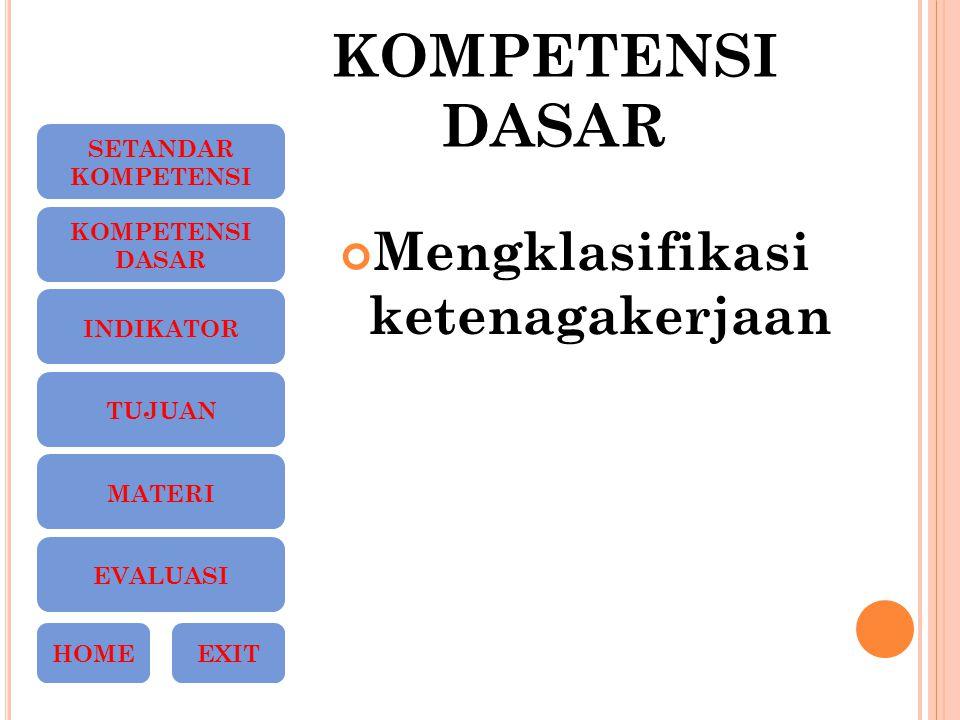 KOMPETENSI DASAR Mengklasifikasi ketenagakerjaan SETANDAR KOMPETENSI DASAR INDIKATOR TUJUAN MATERI EVALUASI HOMEEXIT
