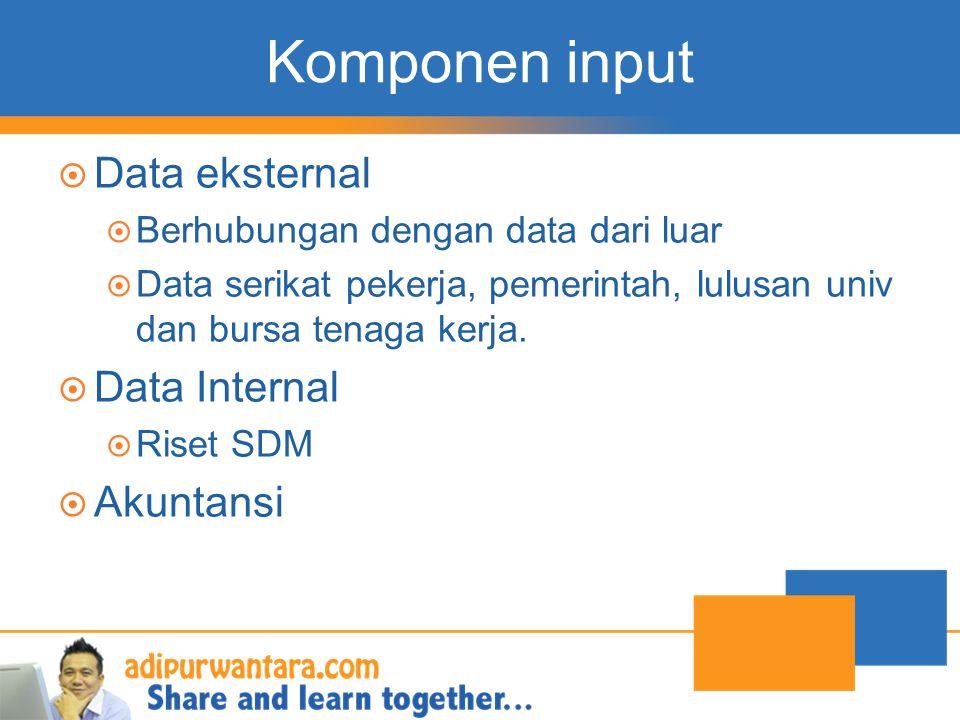 Komponen input  Data eksternal  Berhubungan dengan data dari luar  Data serikat pekerja, pemerintah, lulusan univ dan bursa tenaga kerja.  Data In
