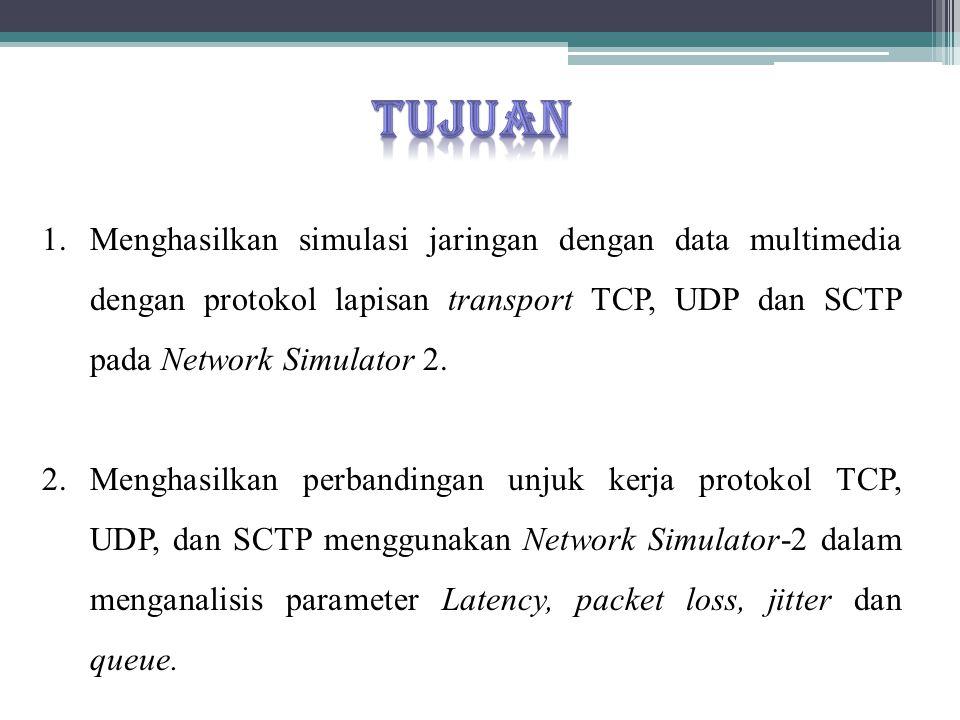 1.Menghasilkan simulasi jaringan dengan data multimedia dengan protokol lapisan transport TCP, UDP dan SCTP pada Network Simulator 2. 2. Menghasilkan