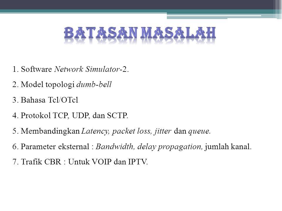 1. Software Network Simulator-2. 2. Model topologi dumb-bell 3. Bahasa Tcl/OTcl 4. Protokol TCP, UDP, dan SCTP. 5. Membandingkan Latency, packet loss,
