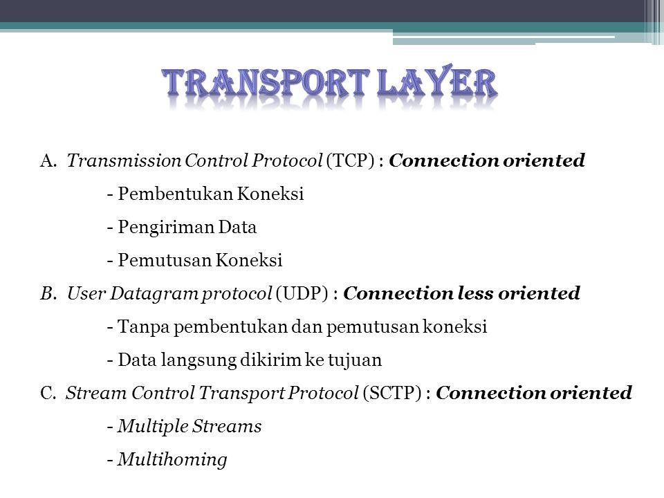 A. Transmission Control Protocol (TCP) : Connection oriented - Pembentukan Koneksi - Pengiriman Data - Pemutusan Koneksi B. User Datagram protocol (UD