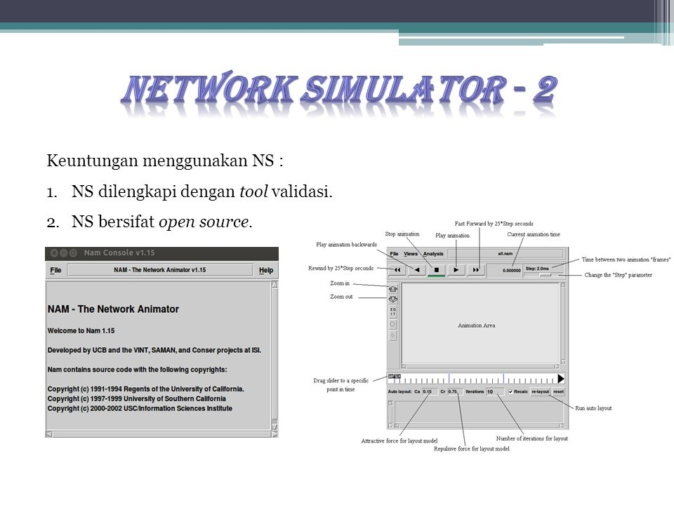 Keuntungan menggunakan NS : 1.NS dilengkapi dengan tool validasi. 2.NS bersifat open source.