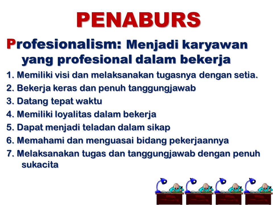 PENABURS Profesionalism: Menjadi karyawan yang profesional dalam bekerja 1. Memiliki visi dan melaksanakan tugasnya dengan setia. 2. Bekerja keras dan