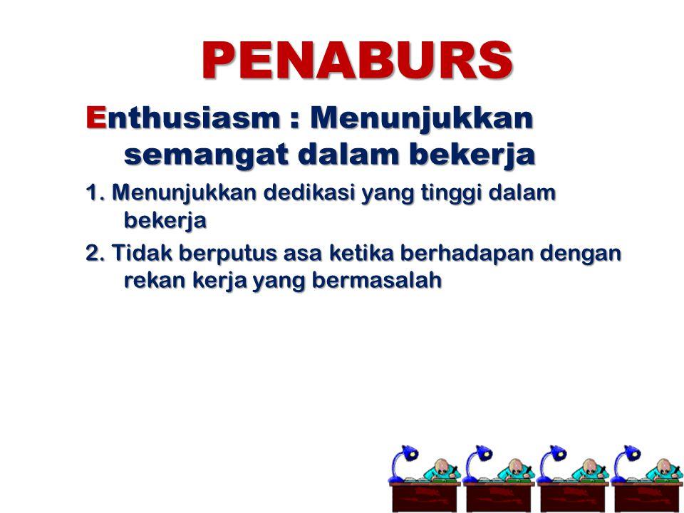 PENABURS Enthusiasm : Menunjukkan semangat dalam bekerja 1. Menunjukkan dedikasi yang tinggi dalam bekerja 2. Tidak berputus asa ketika berhadapan den