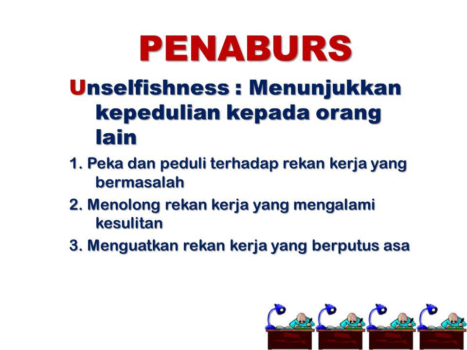 PENABURS Unselfishness : Menunjukkan kepedulian kepada orang lain 1. Peka dan peduli terhadap rekan kerja yang bermasalah 2. Menolong rekan kerja yang