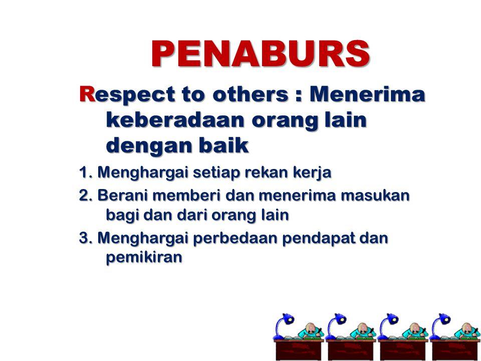 PENABURS Respect to others : Menerima keberadaan orang lain dengan baik 1. Menghargai setiap rekan kerja 2. Berani memberi dan menerima masukan bagi d