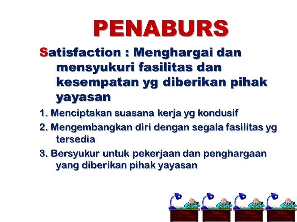 PENABURS Satisfaction : Menghargai dan mensyukuri fasilitas dan kesempatan yg diberikan pihak yayasan 1. Menciptakan suasana kerja yg kondusif 2. Meng