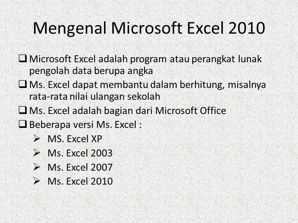 Mengenal Microsoft Excel 2010  Microsoft Excel adalah program atau perangkat lunak pengolah data berupa angka  Ms.