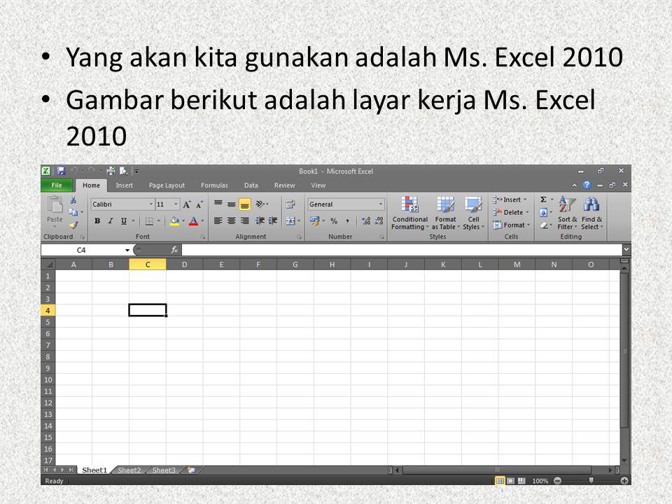 Yang akan kita gunakan adalah Ms. Excel 2010 Gambar berikut adalah layar kerja Ms. Excel 2010