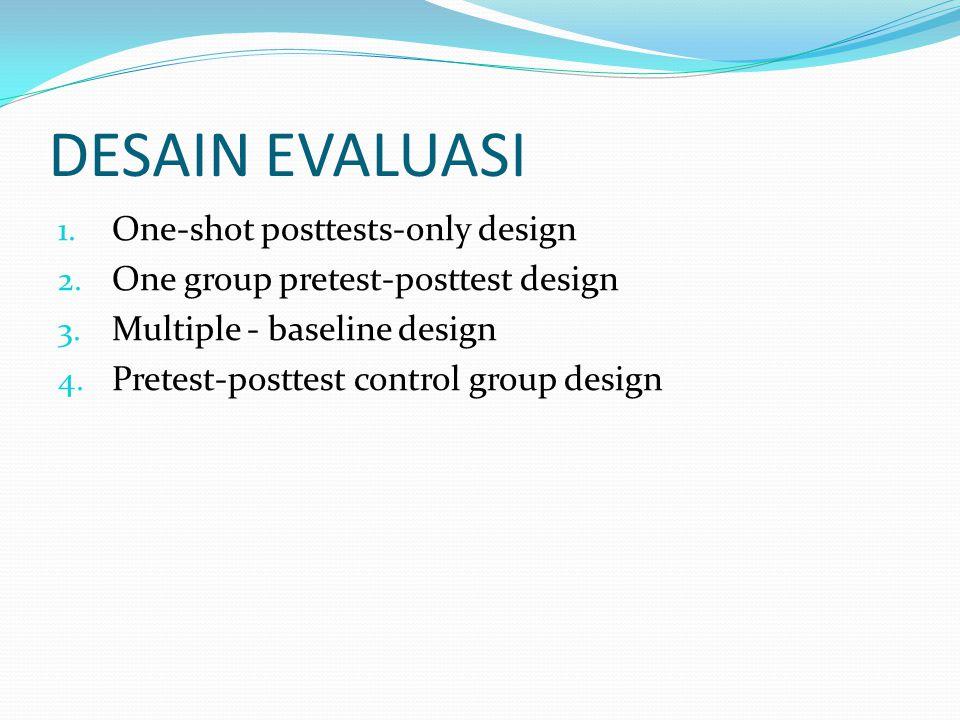 DESAIN EVALUASI 1. One-shot posttests-only design 2. One group pretest-posttest design 3. Multiple - baseline design 4. Pretest-posttest control group
