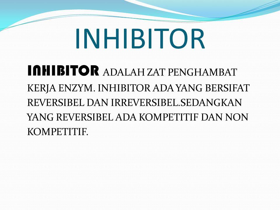 AKTIVATOR dan INHIBITOR AKTIVATOR adalah molekul yang mempermudah ikatan antara Enzim dengan Substratnya. Contoh : Clorida (Amilase dalam Saliva )