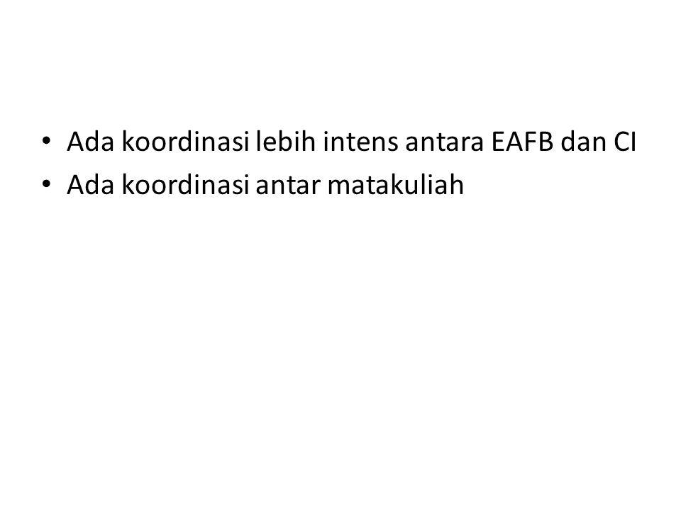 Ada koordinasi lebih intens antara EAFB dan CI Ada koordinasi antar matakuliah