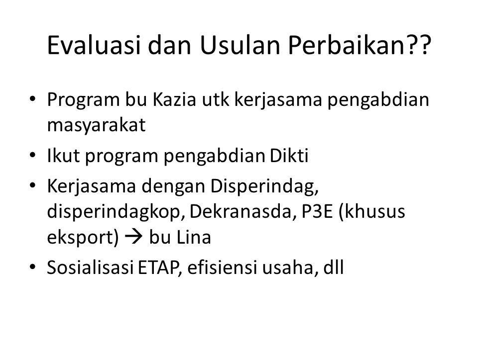 Evaluasi dan Usulan Perbaikan?.