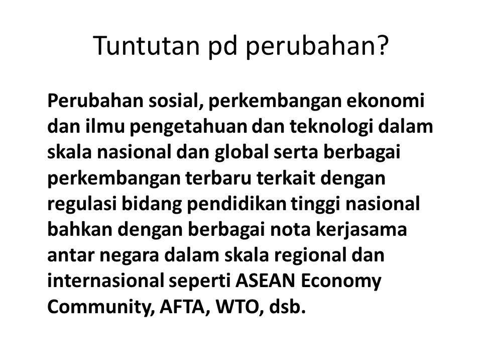 Tuntutan pd perubahan? Perubahan sosial, perkembangan ekonomi dan ilmu pengetahuan dan teknologi dalam skala nasional dan global serta berbagai perkem