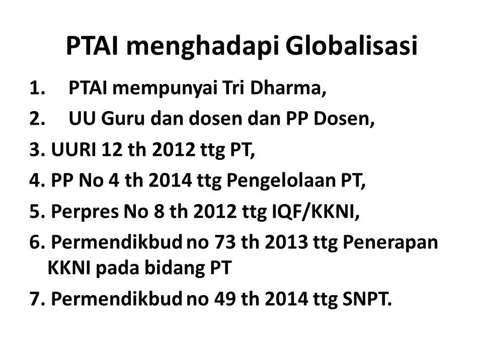 PTAI menghadapi Globalisasi 1.PTAI mempunyai Tri Dharma, 2.UU Guru dan dosen dan PP Dosen, 3. UURI 12 th 2012 ttg PT, 4. PP No 4 th 2014 ttg Pengelola