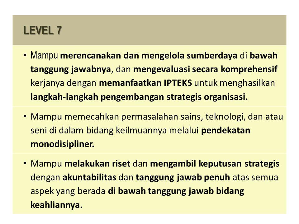 LEVEL 7 Mampu merencanakan dan mengelola sumberdaya di bawah tanggung jawabnya, dan mengevaluasi secara komprehensif kerjanya dengan memanfaatkan IPTE
