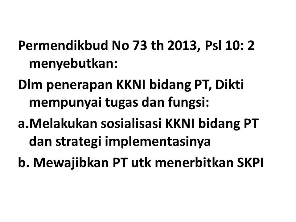 Permendikbud No 73 th 2013, Psl 10: 2 menyebutkan: Dlm penerapan KKNI bidang PT, Dikti mempunyai tugas dan fungsi: a.Melakukan sosialisasi KKNI bidang PT dan strategi implementasinya b.