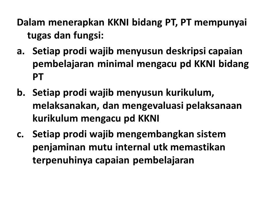 Dalam menerapkan KKNI bidang PT, PT mempunyai tugas dan fungsi: a.Setiap prodi wajib menyusun deskripsi capaian pembelajaran minimal mengacu pd KKNI b