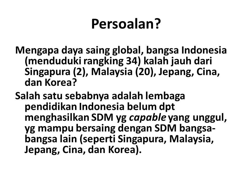 Persoalan? Mengapa daya saing global, bangsa Indonesia (menduduki rangking 34) kalah jauh dari Singapura (2), Malaysia (20), Jepang, Cina, dan Korea?