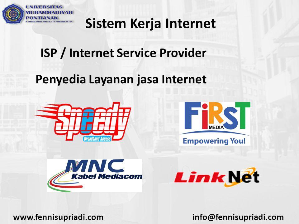 www.fennisupriadi.cominfo@fennisupriadi.com Sistem Kerja Internet ISP / Internet Service Provider Penyedia Layanan jasa Internet