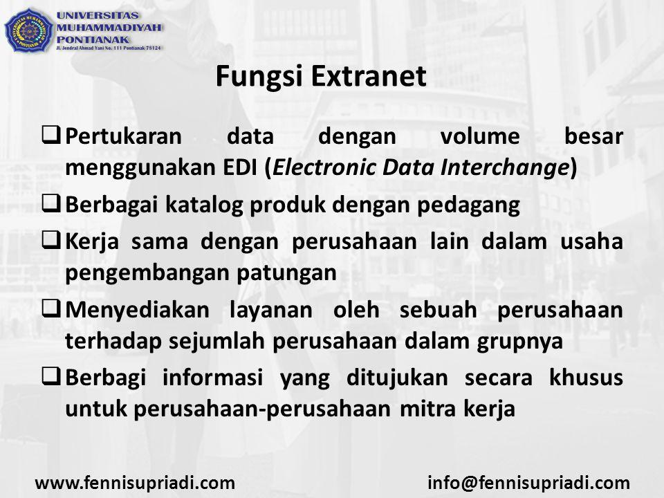 www.fennisupriadi.cominfo@fennisupriadi.com Fungsi Extranet  Pertukaran data dengan volume besar menggunakan EDI (Electronic Data Interchange)  Berb