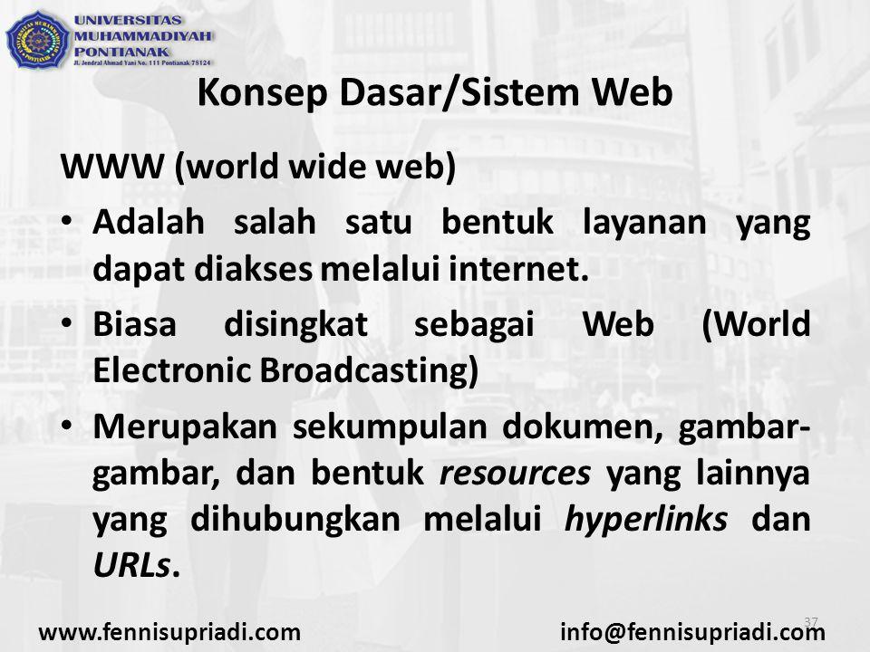 www.fennisupriadi.cominfo@fennisupriadi.com 37 Konsep Dasar/Sistem Web WWW (world wide web) Adalah salah satu bentuk layanan yang dapat diakses melalu