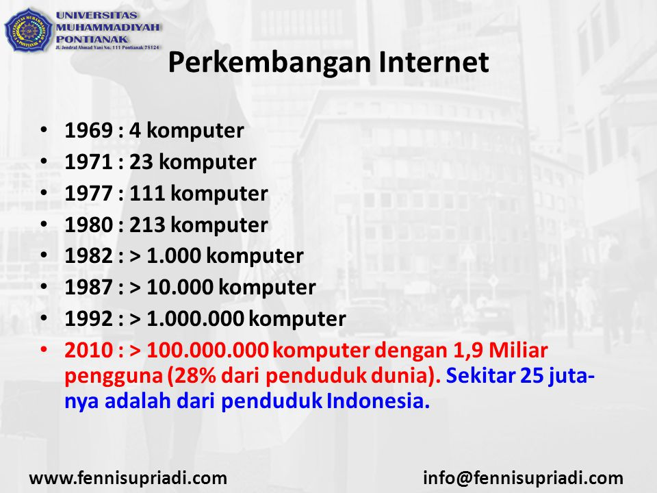 www.fennisupriadi.cominfo@fennisupriadi.com Perkembangan Internet 1969 : 4 komputer 1971 : 23 komputer 1977 : 111 komputer 1980 : 213 komputer 1982 :