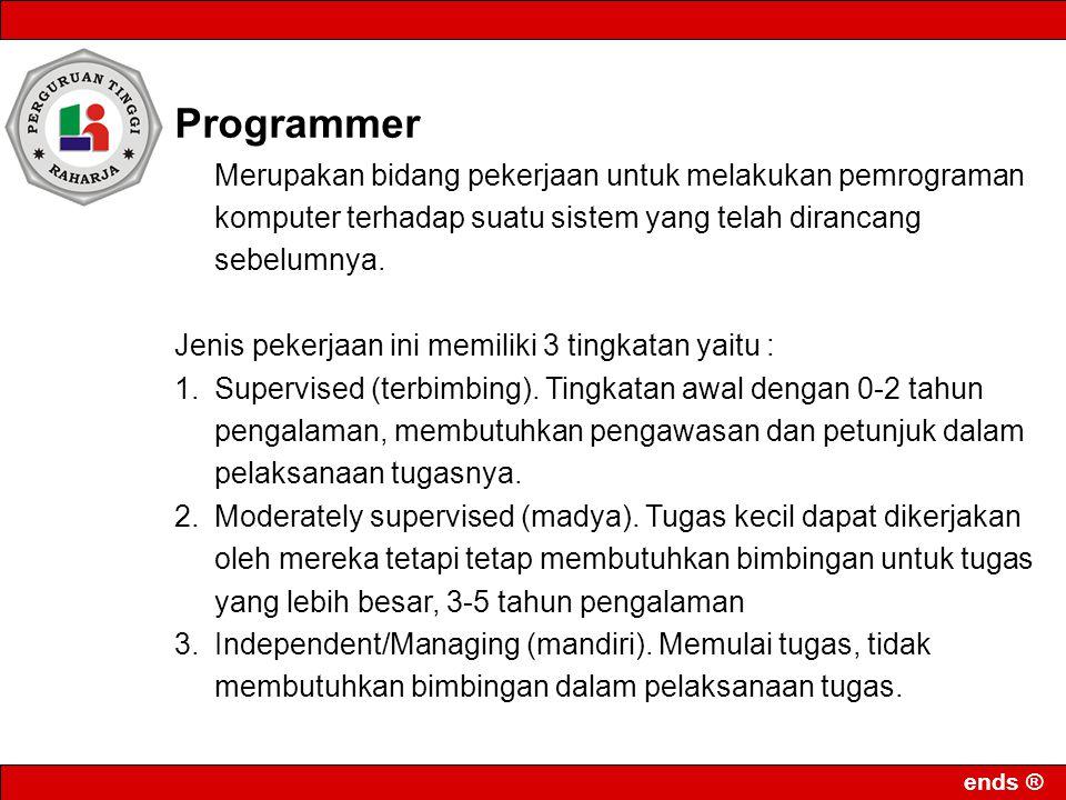 ends ® Programmer Merupakan bidang pekerjaan untuk melakukan pemrograman komputer terhadap suatu sistem yang telah dirancang sebelumnya. Jenis pekerja