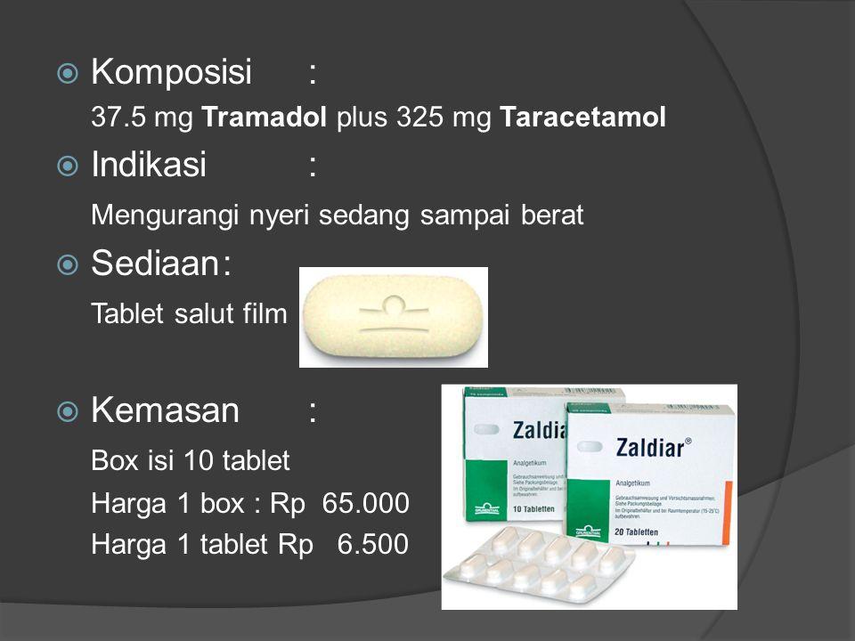  Komposisi: 37.5 mg Tramadol plus 325 mg Taracetamol  Indikasi: Mengurangi nyeri sedang sampai berat  Sediaan: Tablet salut film  Kemasan: Box isi 10 tablet Harga 1 box : Rp 65.000 Harga 1 tablet Rp 6.500