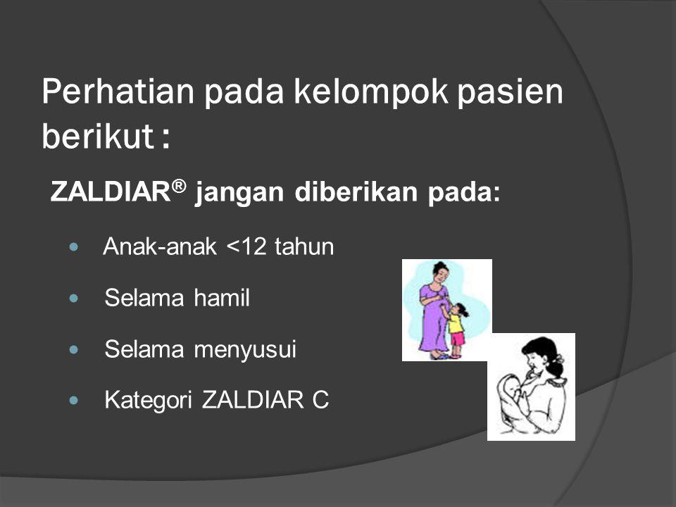 Perhatian pada kelompok pasien berikut : ZALDIAR ® jangan diberikan pada: Anak-anak <12 tahun Selama hamil Selama menyusui Kategori ZALDIAR C