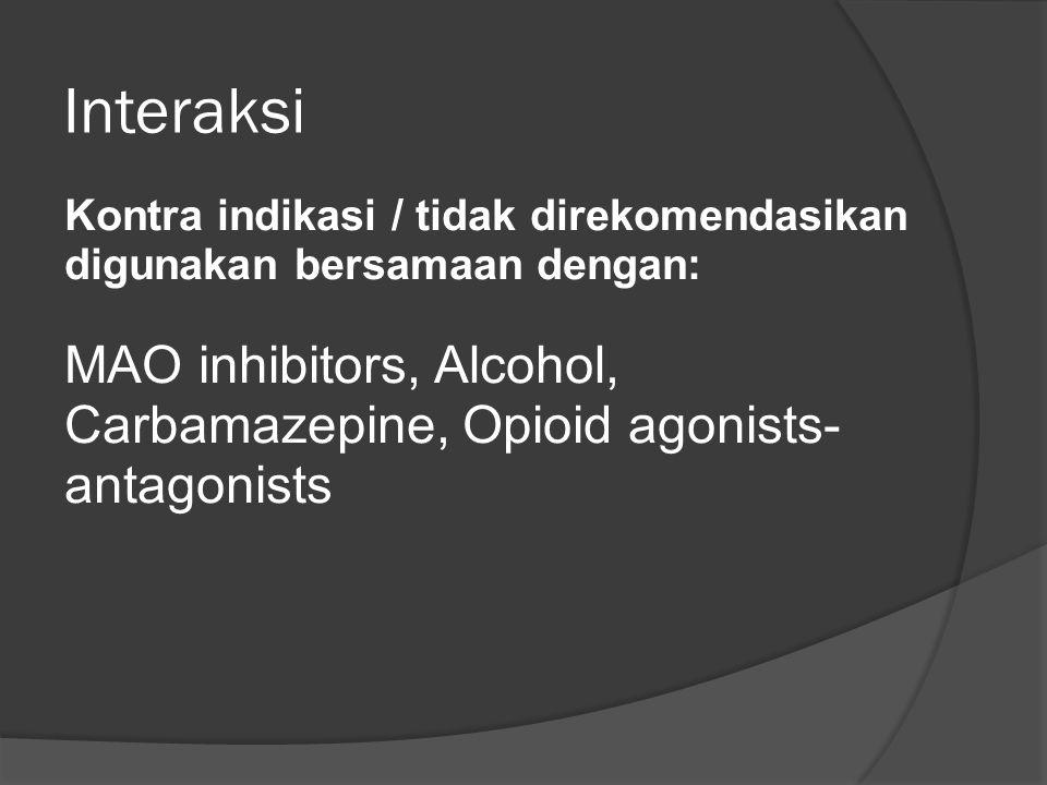 Interaksi Kontra indikasi / tidak direkomendasikan digunakan bersamaan dengan: MAO inhibitors, Alcohol, Carbamazepine, Opioid agonists- antagonists