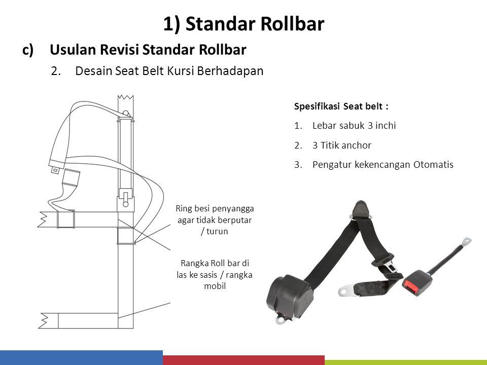 1) Standar Rollbar c)Usulan Revisi Standar Rollbar 2.Desain Seat Belt Kursi Berhadapan Spesifikasi Seat belt : 1.Lebar sabuk 3 inchi 2.3 Titik anchor