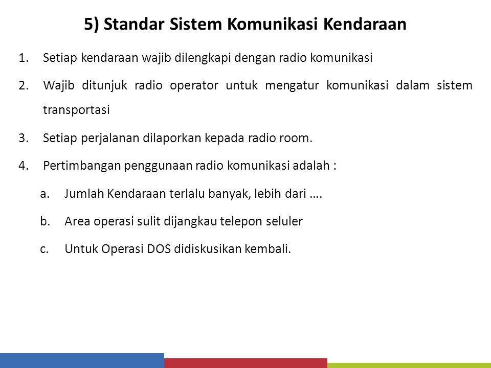5) Standar Sistem Komunikasi Kendaraan 1.Setiap kendaraan wajib dilengkapi dengan radio komunikasi 2.Wajib ditunjuk radio operator untuk mengatur komu