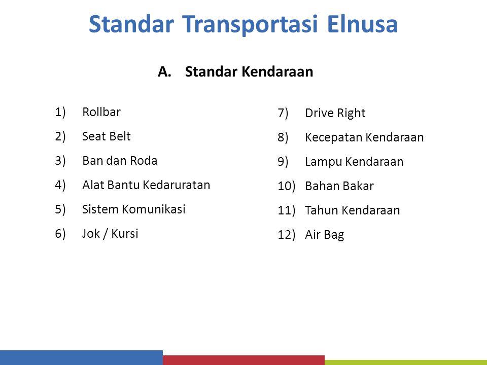 Standar Transportasi Elnusa A.Standar Kendaraan 1)Rollbar 2)Seat Belt 3)Ban dan Roda 4)Alat Bantu Kedaruratan 5)Sistem Komunikasi 6)Jok / Kursi 7)Driv