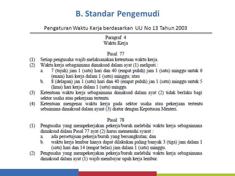 B. Standar Pengemudi Pengaturan Waktu Kerja berdasarkan UU No 13 Tahun 2003