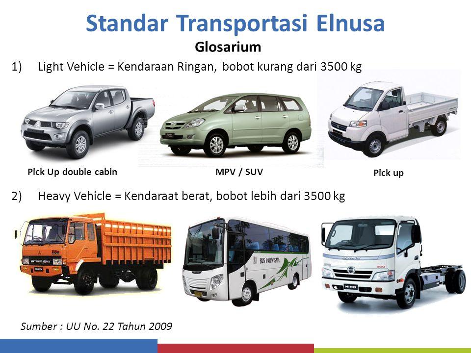 Standar Transportasi Elnusa Glosarium 1)Light Vehicle = Kendaraan Ringan, bobot kurang dari 3500 kg 2)Heavy Vehicle = Kendaraat berat, bobot lebih dar