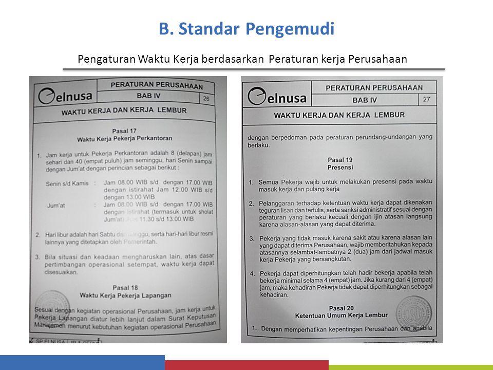 B. Standar Pengemudi Pengaturan Waktu Kerja berdasarkan Peraturan kerja Perusahaan