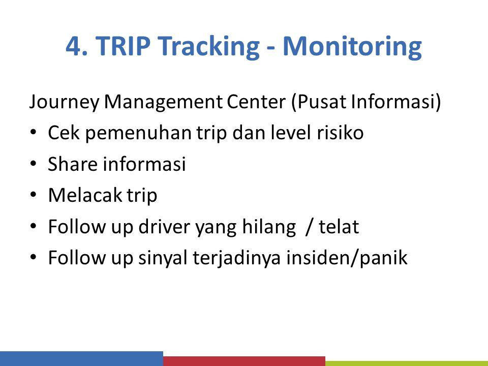 4. TRIP Tracking - Monitoring Journey Management Center (Pusat Informasi) Cek pemenuhan trip dan level risiko Share informasi Melacak trip Follow up d