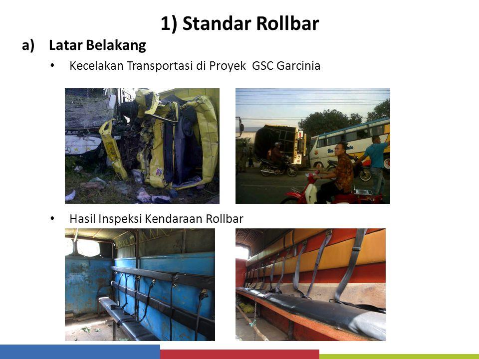 1) Standar Rollbar a)Latar Belakang Kecelakan Transportasi di Proyek GSC Garcinia Hasil Inspeksi Kendaraan Rollbar