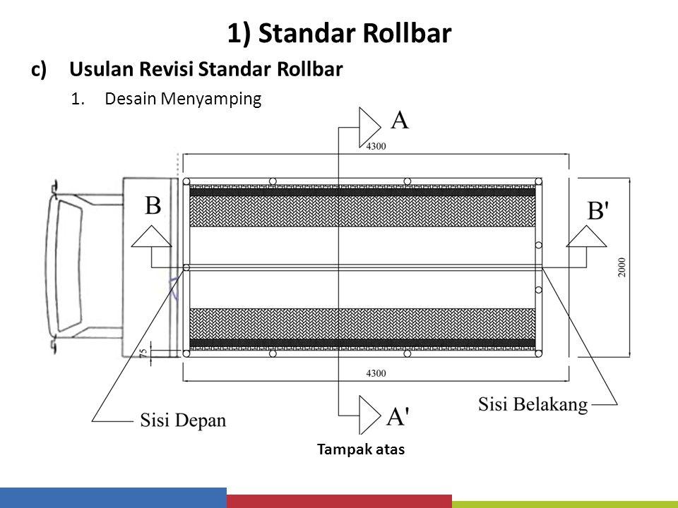 1) Standar Rollbar c)Usulan Revisi Standar Rollbar 1.Desain Menyamping Tampak Depan / Belakang Sumber : 1.