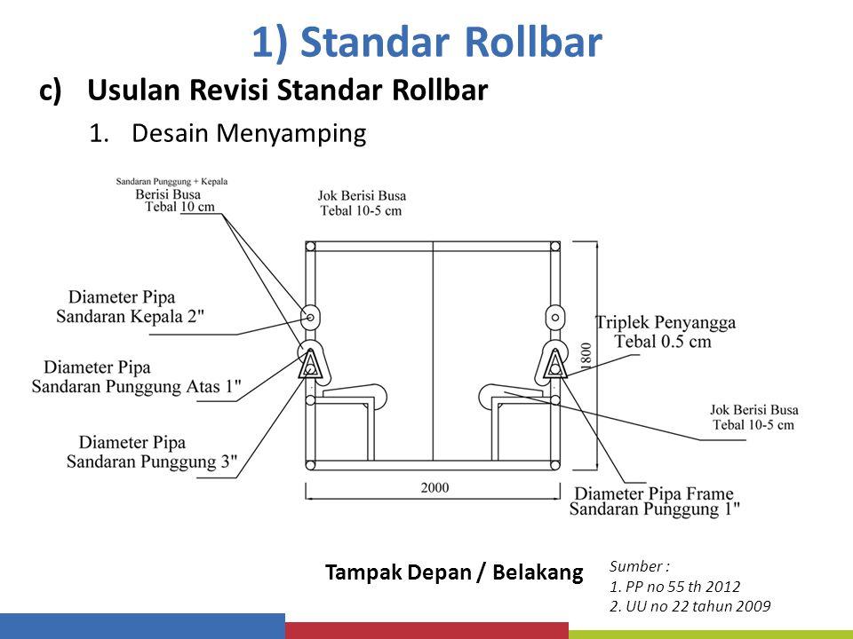 1) Standar Rollbar c)Usulan Revisi Standar Rollbar 1.Desain Menyamping Tampak Depan / Belakang Sumber : 1. PP no 55 th 2012 2. UU no 22 tahun 2009