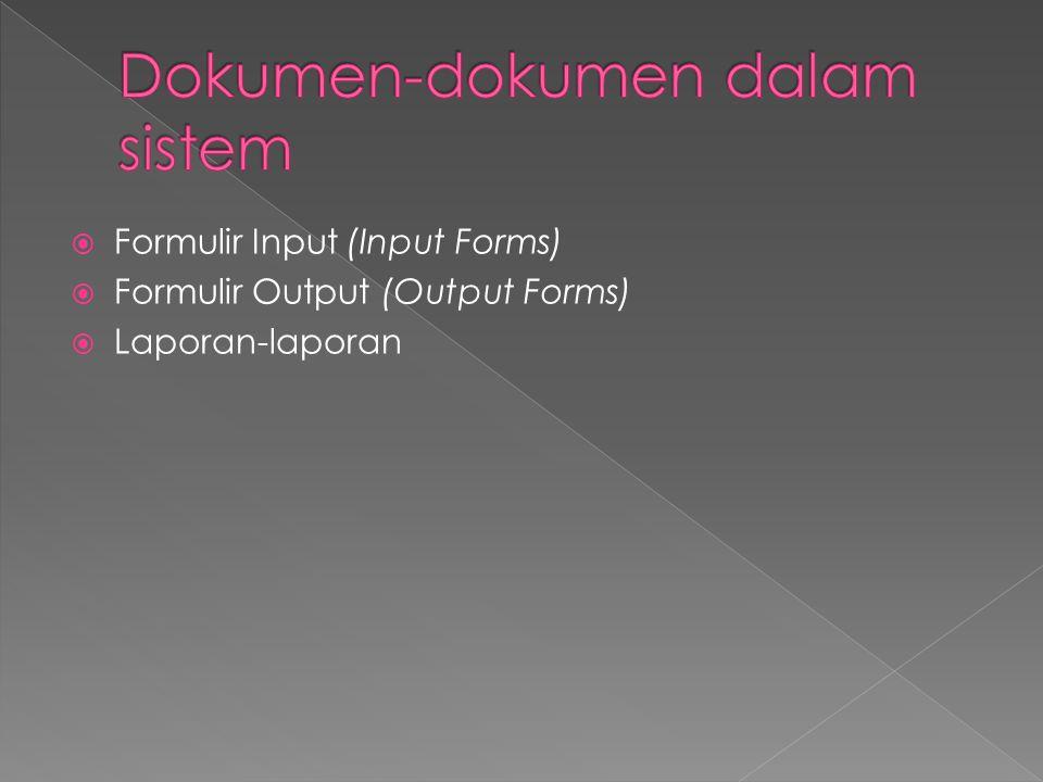  Formulir Input (Input Forms)  Formulir Output (Output Forms)  Laporan-laporan