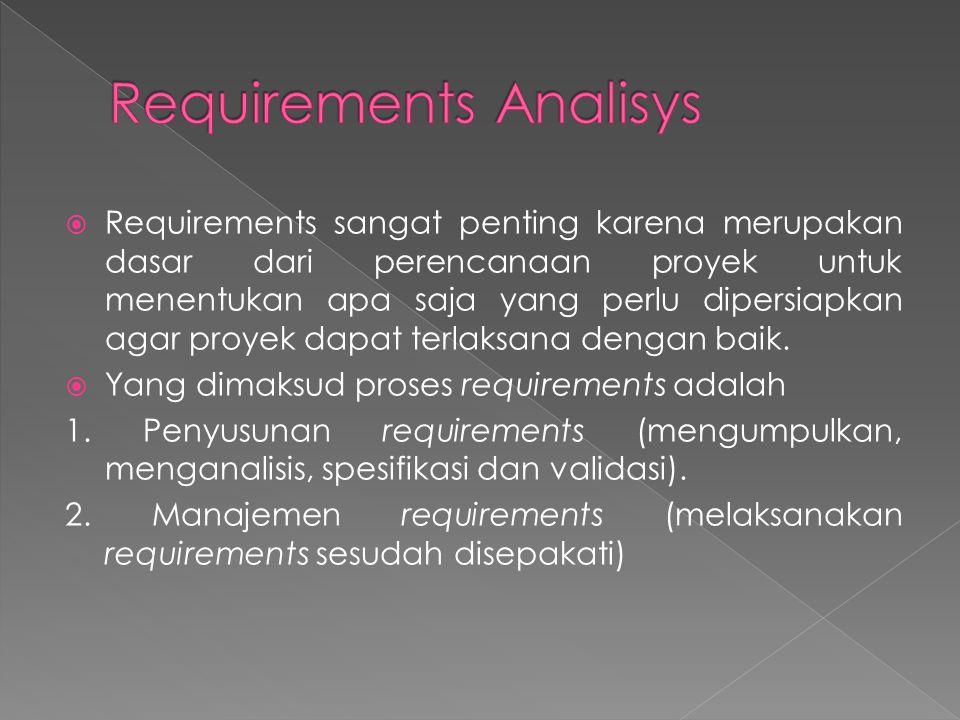  Requirements sangat penting karena merupakan dasar dari perencanaan proyek untuk menentukan apa saja yang perlu dipersiapkan agar proyek dapat terla